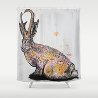 jackalope Shower Curtains featuring Jackalope by Joseph Kennelty