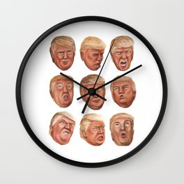 Faces Of Donald Trump Wall Clock