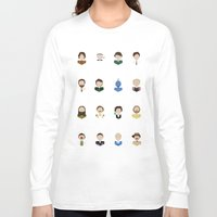 robin williams Long Sleeve T-shirts featuring The Faces of Robin Williams by Dorothy Leigh