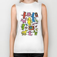 simpsons Biker Tanks featuring Keith Haring & Simpsons by le.duc