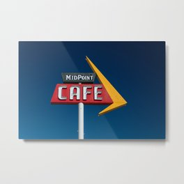 Midpoint Cafe Vintage Neon Route 66 Sign Adrian Texas Metal Print