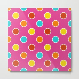 Geometric Candy Dot Circles In Bright Summer Multi Colors - Pink Yellow Orange Red Turquoise Metal Print