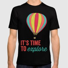 IT'S TIME TO EXPLORE- HOT AIR BALLOON Mens Fitted Tee X-LARGE Black
