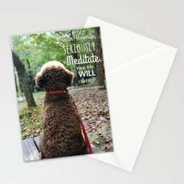 """JB the meditation poodle """"Meditate. Your life will change."""" Stationery Cards"""