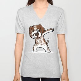 Dabbing German Shorthaired Pointer Dog Dab Dance Unisex V-Neck
