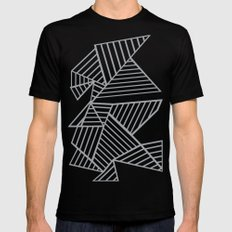 Abstraction Lines Zoom Grey Mens Fitted Tee MEDIUM Black