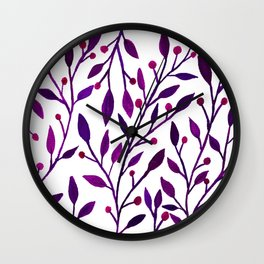Leafs and iny fruit - purple and pink pallete Wall Clock