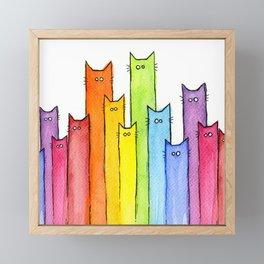 Cat Rainbow Watercolor Pattern Framed Mini Art Print