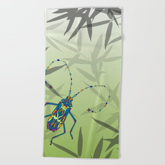 Insect Bamboo leaves Green Unique Pattern Beach Towel