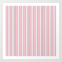 Classic Pink and Gray Stripes Art Print