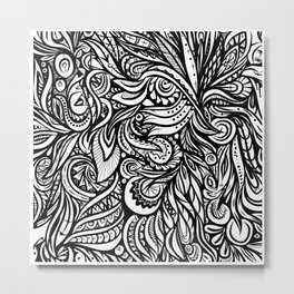 Black and White Abstract Design Metal Print