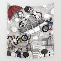 holiday Wall Tapestries featuring Going on Holiday by Judith Clay
