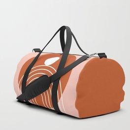 Mid Century Modern Geometric 39 in Terracotta Rose Gold (Rainbow Sun Abstraction) Duffle Bag