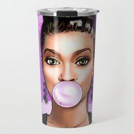 Retro Pinup Girl Blowing Bubble Gum Paint Strokes Travel Mug