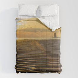 Sandbars and Sunset Coastal Nature / Landscape Photograph Comforters