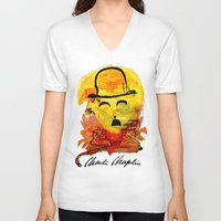 charlie chaplin V-neck T-shirts featuring Charlie Chaplin by Genco Demirer