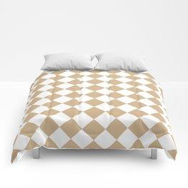Diamonds - White and Tan Brown Comforters