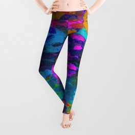 sexy kiss lipstick abstract pattern in pink blue orange red Leggings