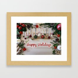 Happy holidays with spoons Framed Art Print