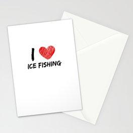 I Love Ice Fishing Stationery Cards