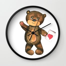 bear with postcard and heart Wall Clock