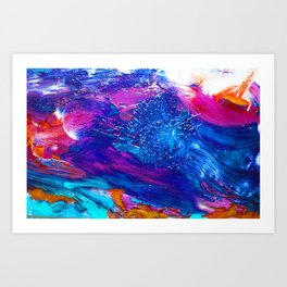 bright colors, brush painting on the glass Art Print