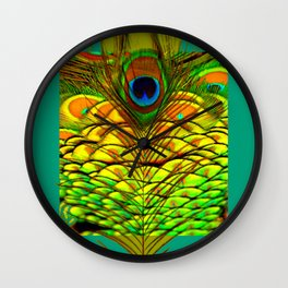 TEAL PEACOCK FEATHERS GOLDEN  DESIGN Wall Clock