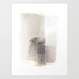 Beige and Brown Minimalist Abstract Painting Art Print
