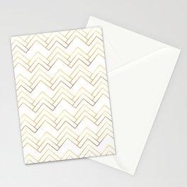 Art Deco Chevron Lines Bg White Stationery Cards