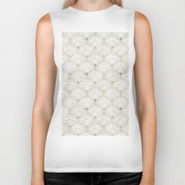 marble and gold art deco scales pattern Biker Tank