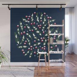 Winter Berries in Navy Wall Mural