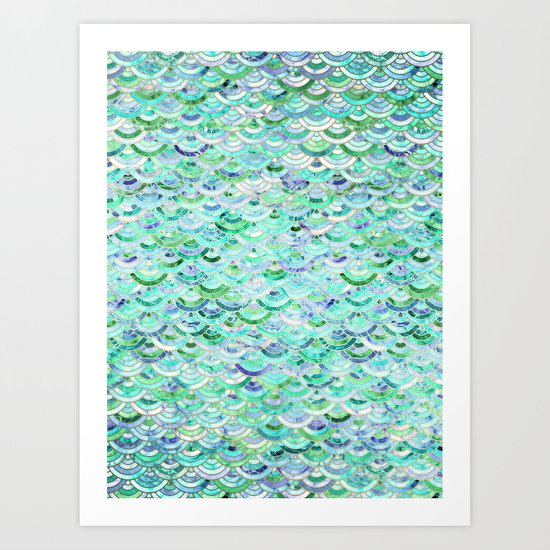 Marble Mosaic in Mint Quartz and Jade Art Print