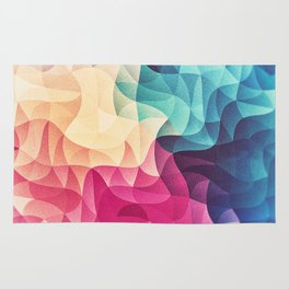 Geometry Triangle Wave Multicolor Mosaic Pattern - (HDR - Low Poly Art) Rug