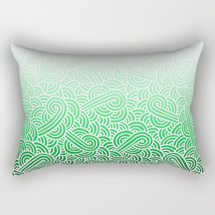 Ombre green and white swirls doodles Rectangular Pillow