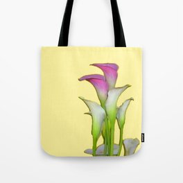 PURPLE & WHITE CALLA LILIES FLORAL YELLOW ART Tote Bag