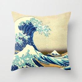 The Great Wave Off Kanagawa Katsushika Hokusai Throw Pillow