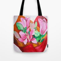 valentines Tote Bags featuring Valentines Bouquet by marlene holdsworth