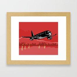 Commercial Jet Plane Airliner taking off Retro Framed Art Print
