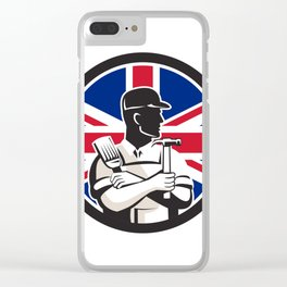 British DIY Expert Union Jack Flag Icon Clear iPhone Case