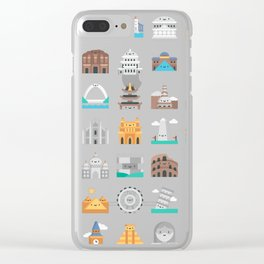 CUTE FAMOUS MONUMENTS PATTERN Clear iPhone Case