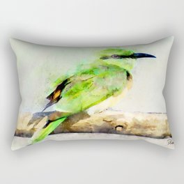 European Bee Eater Green Yellow Bird Wildlife Animal Watercolor Artsy Rectangular Pillow