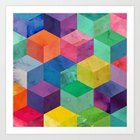 Watercolour 3D cubes Art Print