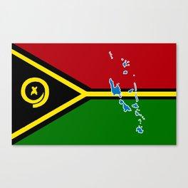 Vanuatu Flag with Map of Vanuatu Canvas Print
