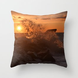 Cape May Sunset Wave Crashing Throw Pillow