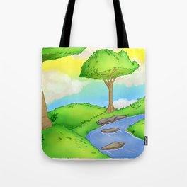 Daylight Landscape Illustration Tote Bag