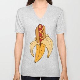 Banane fruit peeling hot dog fastfood kids funny gift idea Unisex V-Neck