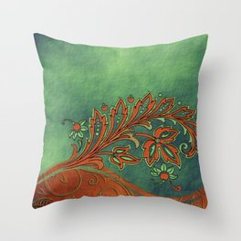 Baroque Bronzed Teal Flowers Throw Pillow