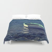 boat Duvet Covers featuring boat by gzm_guvenc