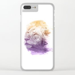 LION SUPERIMPOSED WATERCOLOR Clear iPhone Case
