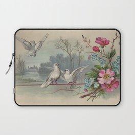 Vintage White Forest Birds Laptop Sleeve